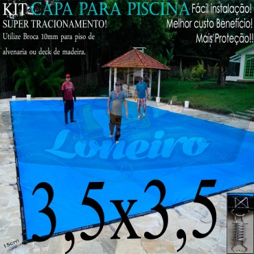 Capa para Piscina Super 3,5 x 3,5m Azul/Cinza PP/PE Lona Térmica Premium +44m+44p+1b