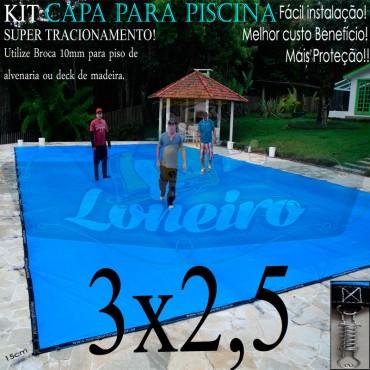 Capa para Piscina Super 3,0 x 2,5m Azul/Cinza PP/PE Lona Térmica Premium +38m+38p+1b