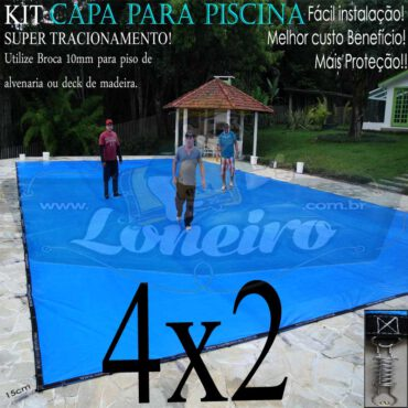 Capa para Piscina Super 4,0 x 2,0m Azul/Cinza PP/PE Lona Térmica Premium de Proteção e Segurança +24m+24p+1b