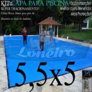 Capa para Piscina Super 5,5 x 5,0m Azul/Cinza PP/PE Lona Térmica Premium de Proteção e Segurança +42m+42p+2b