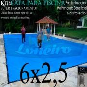 Capa para Piscina Super 6,0 x 2,5m Azul/Cinza Chumbo PP/PE Lona Térmica Premium +50m+50p+2b