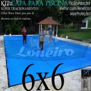 Capa para Piscina Super 6,0 x 6,0m Azul/Cinza PP/PE Lona Térmica Premium +64m+64p+3b