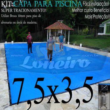 Capa para Piscina Super 7,5 x 3,5m Azul/Cinza PP/PE Lona Térmica Premium de Proteção e Seguração para Crianças Animais Pessoas com +44m+44p+3b