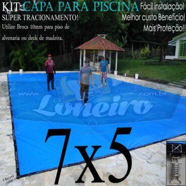 Capa para Piscina Super 7,0 x 5,0m Azul/Cinza PP/PE Lona Térmica Premium Proteção e Segurança +48m+48p+3b