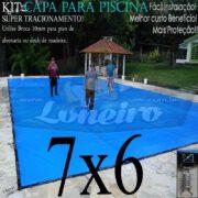 Capa para Piscina Super 7,0 x 6,0m Azul/Cinza PP/PE Lona Térmica Premium Proteção e Segurança +52m+52p+3b