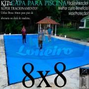 Capa para Piscina Super 8,0 x 8,0m PP/PE Azul/Cinza Chumbo Lona Térmica de Proteção +80m+80p+5b