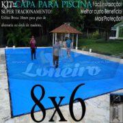 Capa para Piscina Super 8,0 x 6,0m Azul/Cinza PP/PE Lona Térmica Premium Proteção e Segurança +56m+56p+4b