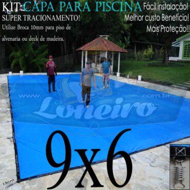 Capa para Piscina Super 9,0 x 6,0m Azul/Cinza PP/PE Lona Térmica Premium Proteção e Segurança +60m+60p+4b