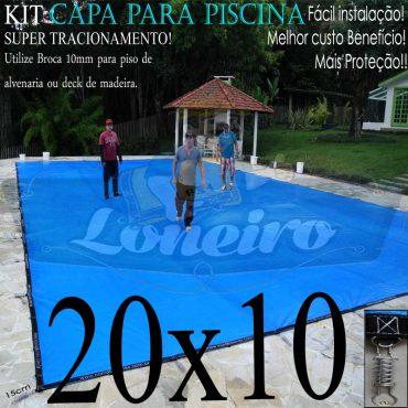 Capa para Piscina Super: 20,0 x 10,0m Cinza/Preta PP/PE Lona Térmica Premium +136m+136p + 16 pet-bóias