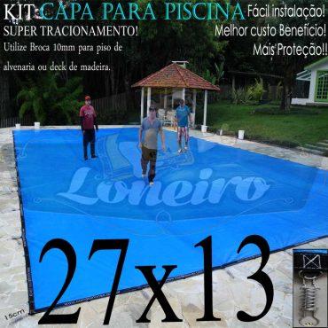 Capa para Piscina Super: 27,0 x 13,0m PP/PE Cinza Azul Lona Térmica Premium + 176m e 176p + 33 Pet-Bóias