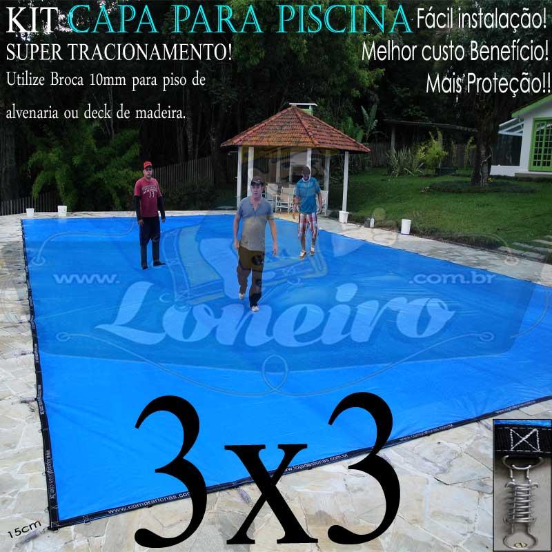 Capa para Piscina Super 3,0 x 3,0m Azul/Cinza PP/PE Lona Térmica Premium +40m+40p+1b