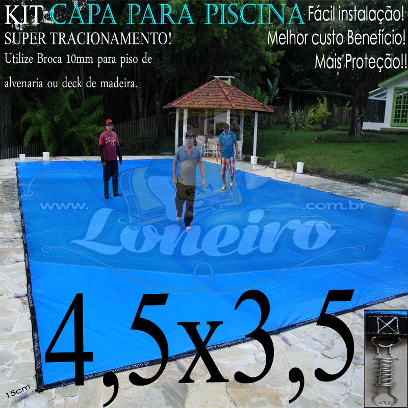 Capa para Piscina Super 4,5 x 3,5m Azul/Cinza Chumbo PP/PE Lona Térmica Premium +44m+44p+1b