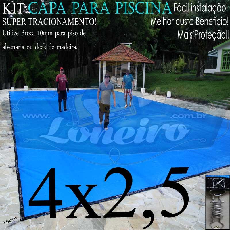 Capa para Piscina Super 4,0 x 2,5m PP/PE Azul-Cinza Lona Térmica Premium +42m+42p+1b