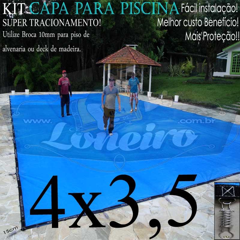 Capa para Piscina Super 4,0 x 3,5m Azul/Preto PP/PE Lona Térmica Premium +30m+30p+1b
