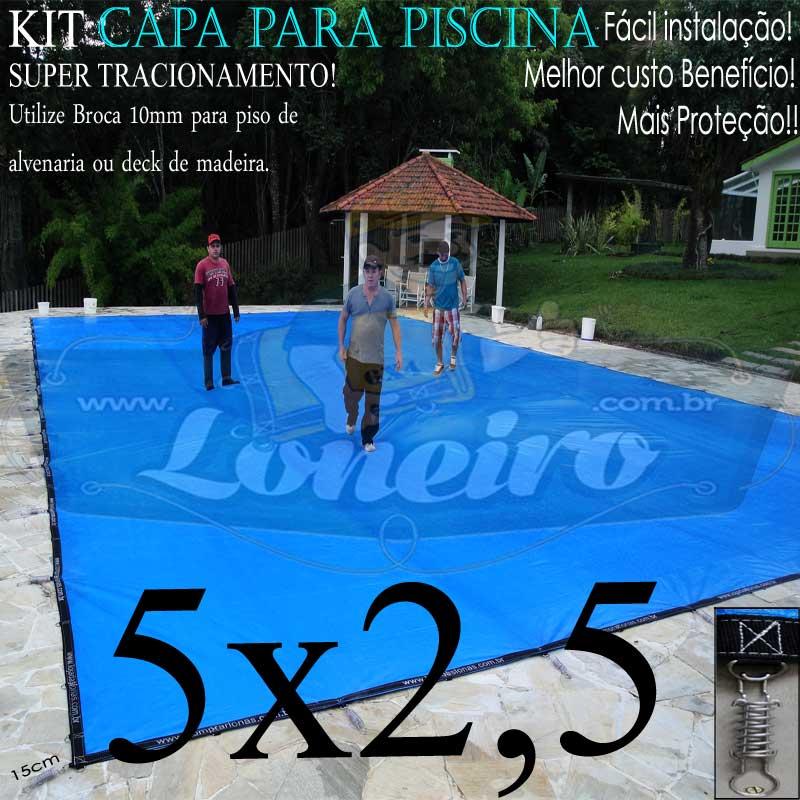 Capa para Piscina Super 5,0 x 2,5m Azul/Cinza PP/PE Lona Térmica Premium +30m+30p+1b