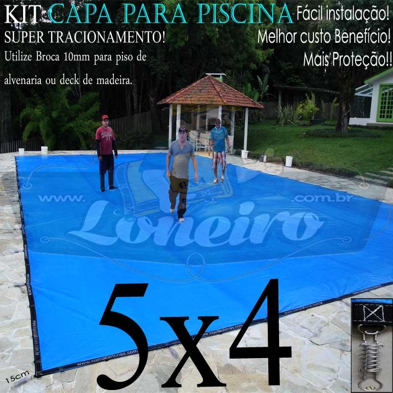 Capa para Piscina Super 5,0 x 4,0m Azul/Preto PP/PE Lona Térmica Premium +52m+52p+1b
