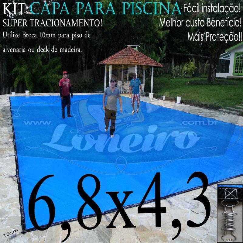 Capa para Piscina Super 6,8 x 4,3m PP/PE Azul-Cinza Lona Térmica Premium +45m+45p+3b