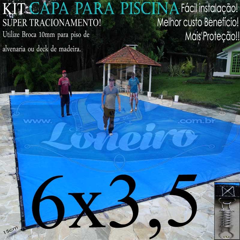Capa para Piscina Super 6,0 x 3,5m Azul/Preto PP/PE Lona Térmica Premium de Proteção e Seguração para Crianças Animais Pessoas com +54m+54p+3b