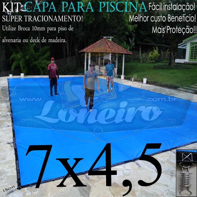 Capa para Piscina Super 7,0 x 4,5m Azul/Cinza PP/PE Lona Térmica Proteção +48m+48p+3b