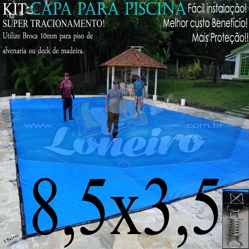 Capa para Piscina Super 8,5 x 3,5m PP/PE Azul-Preto Lona Térmica de Cobertura +64m+64p+3b