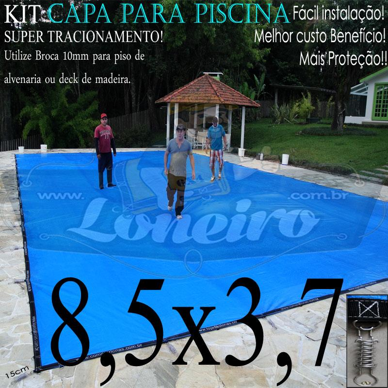 Capa para Piscina Super 8,5 x 3,7m PP/PE Azul-Preto Lona Térmica de Proteção +65m+65p+3b