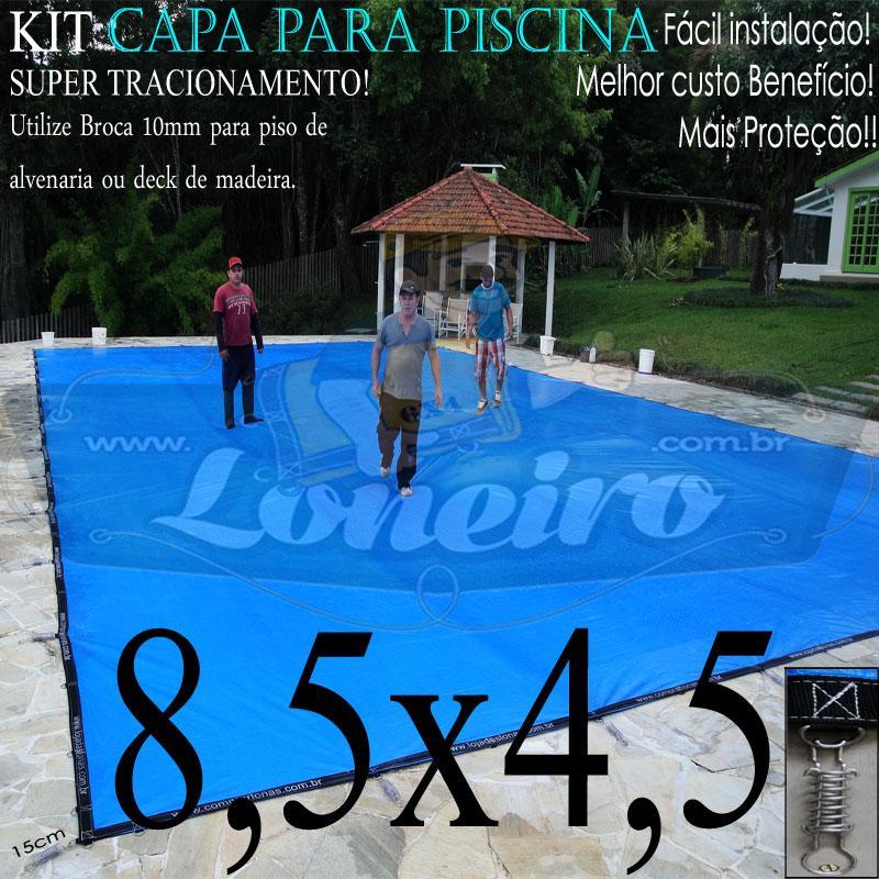 Capa para Piscina Super 8,5 x 4,5m Azul/Cinza PP/PE Lona Térmica Premium +68m+68p+3b