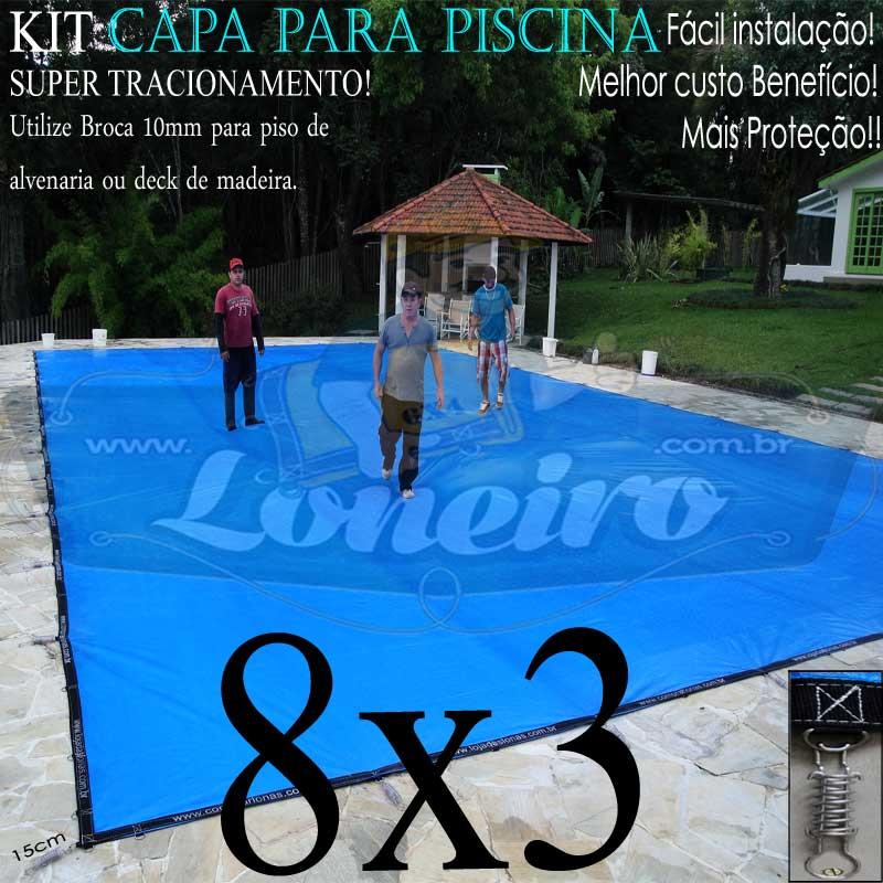 Capa para Piscina Super 8,0 x 3,0m PP/PE Azul-Preto Lona Térmica de Proteção +60m+60p+3b