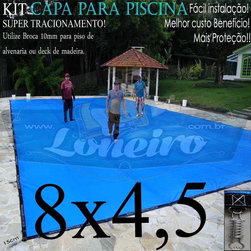 Capa para Piscina Super 8,0 x 4,5m PP/PE Azul-Cinza Lona Térmica de Proteção +50m+50p+3b