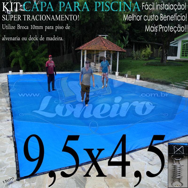 Capa para Piscina Super 9,5 x 4,5m PE/PE Azul - Cinza Lona Térmica Proteção Premium +72m+72p+3b