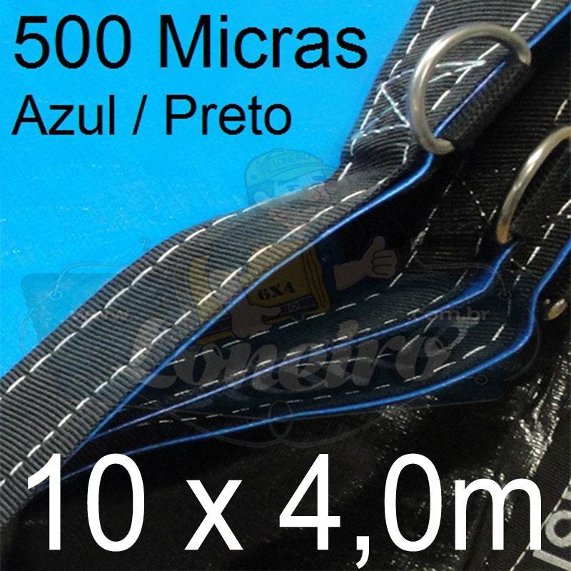 Lona: 10,0 x 4,0m Loneiro 500 Micras PPPE Azul e Preto com argolas