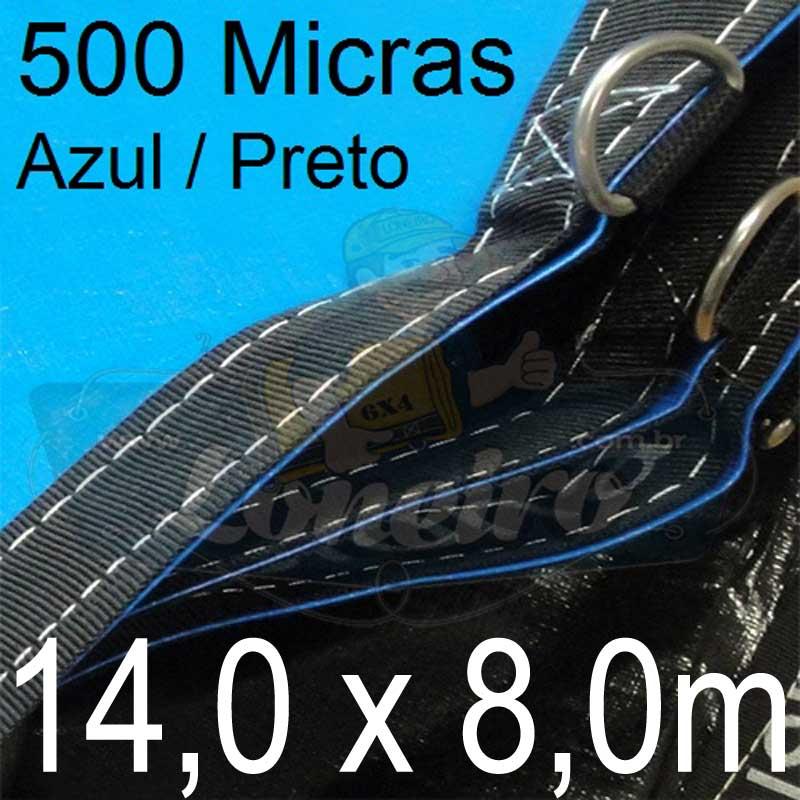 Lona: 14,0 x 8,0m Loneiro 500 Micras PPPE Azul e Preto com argolas