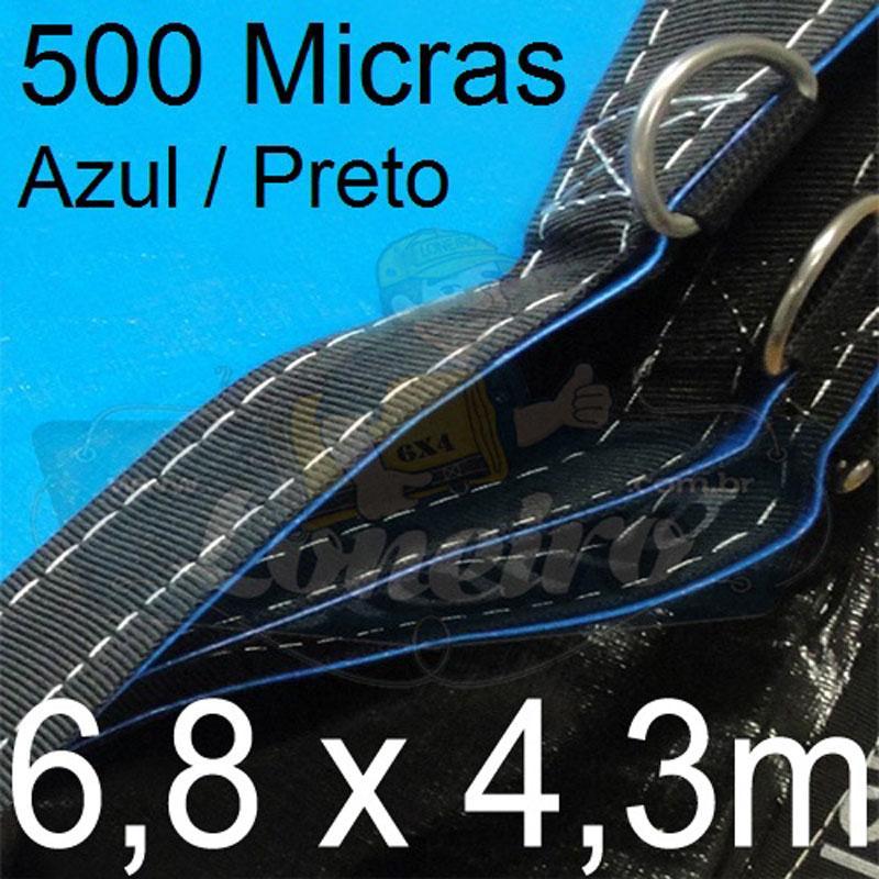 Lona 6,8 x 4,3m Loneiro 500 Micras PPPE Azul e Cinza com argolas