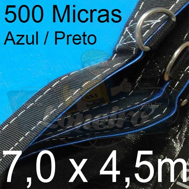 Lona 7,0 x 4,5m Loneiro 500 Micras PP/PE Azul e Preto com argolas