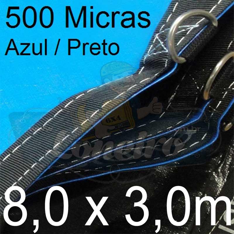 Lona 8,0 x 3,0m Loneiro 500 Micras PP/PE Azul e Preto com argolas
