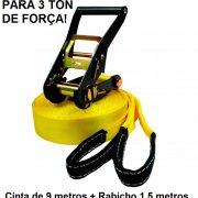 Kit Slackline Cinta 9 Metros Amarela com Alças e Catraca + 2 Protetores de Árvores em Lona mais resistente Slack com Rabicho de 1,5 metros