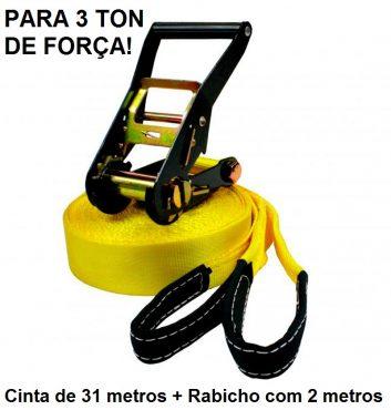 Kit Slackline Cinta 31 Metros Amarela com Alças e Catraca + 2 Protetores de Árvores em Lona mais resistente Slack com Rabicho de 2 metros