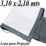 Lona 3,10 x 2,10 mts PVC Branco Fosco / Cinza para Projeção Telão Projetor de Imagens 600 Micras ilhoses a cada 50cm + 10 metros de corda 4mm