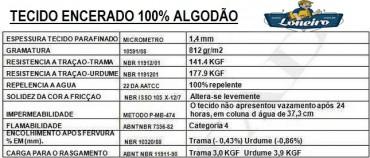 TECIDO ENCERADO LONA ALGODÃO ESPECIFICAÇÃO