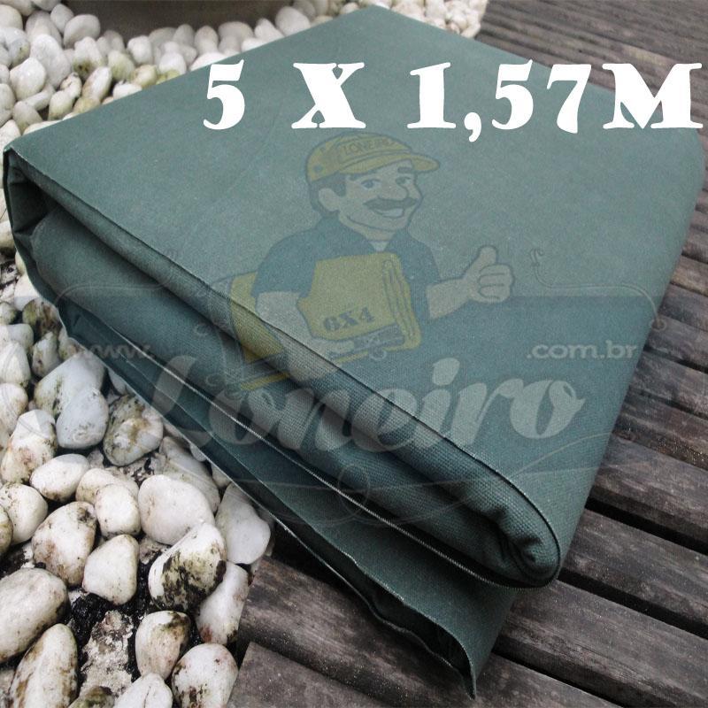 Tecido Encerado Verde Escuro Lona 08 Forte de Algodão 5,0 x 1,57m = 7,85m²