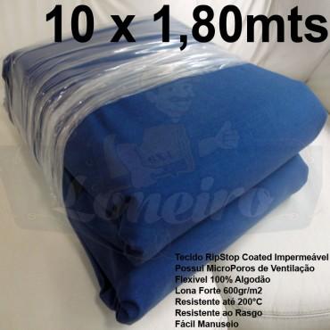 Tecido Forte RipStop Azul Lona de Algodão 10,0 x 1,80 metros Impermeável e Resistente