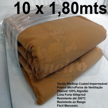 Tecido Forte RipStop Caqui Tradicional Lona de Algodão 10,0 x 1,80 metros Impermeável e Resistente