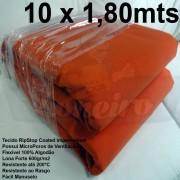 Tecido Forte RipStop Laranja Lona de Algodão 10,0 x 1,80 metros Impermeável e Resistente