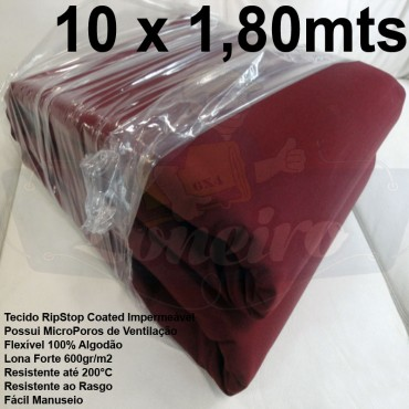 Tecido Forte RipStop Vermelho Bordô Lona de Algodão 10,0 x 1,80 metros Impermeável e Resistente