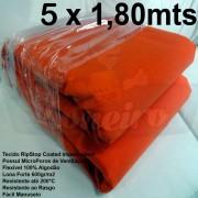 Tecido Forte RipStop Laranja Lona de Algodão 5,0 x 1,80 metros Impermeável e Resistente