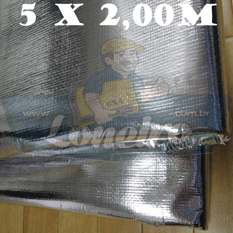 Tecido Plástico de Polietileno Metalizado 5,0 x 2,0m = 10m² Refletivo Capa de Surf Revestimentos Impermeável com 300 Micras