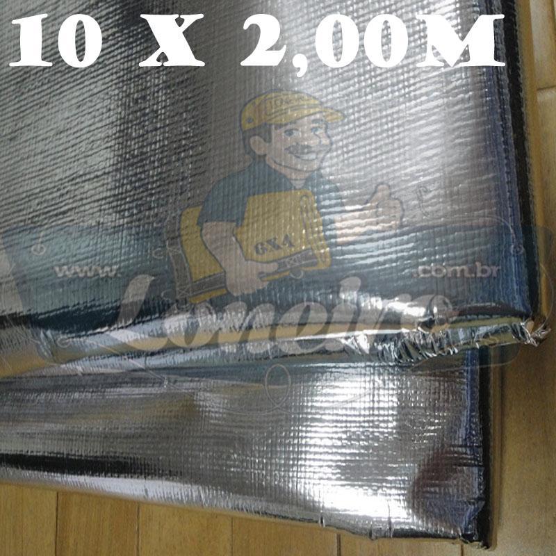 Tecido Plástico de Polietileno Metalizado 10,0 x 2,0m = 20m²  Impermeável com 300 Micras Refletivo Capa de Surf Revestimentos