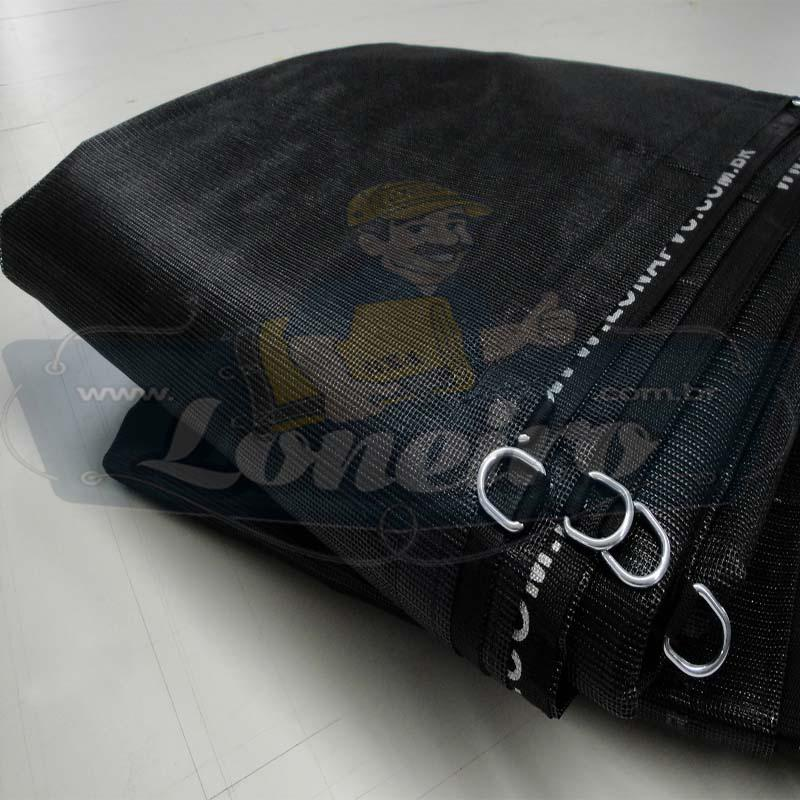 Lona 6,0 x 5,0m Tela Premium PVC Preta Vinil Vinílica Sombrite AntiChamas com 30 metros Corda 8mm