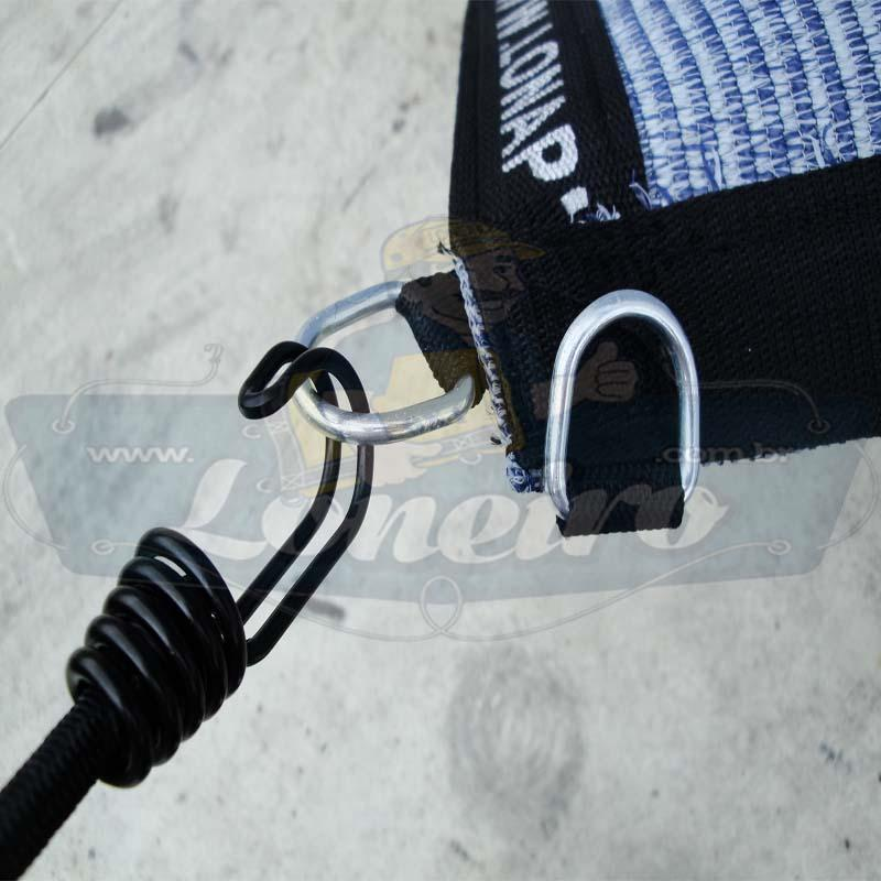 Lona 4,0 x 3,5 Tela ExtraForte PEAD Premium Caminhão cor Prata/Azul + 30 metros Corda 8mm