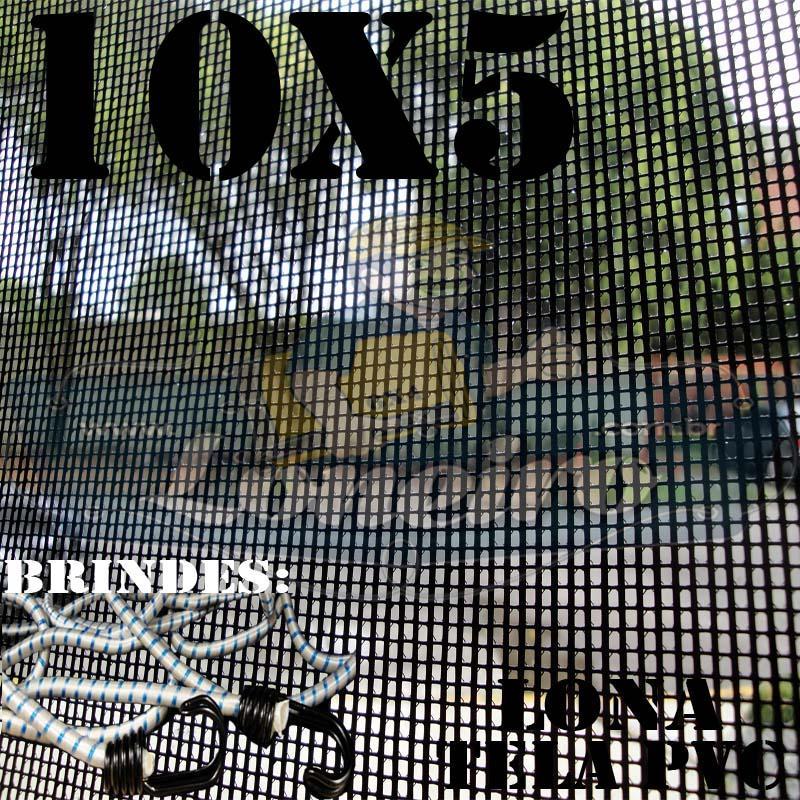 Lona: 10,0 x 5,0m Tela Premium PVC Preta Vinil Vinílica Sombrite AntiChamas com 50 metros Corda 8mm