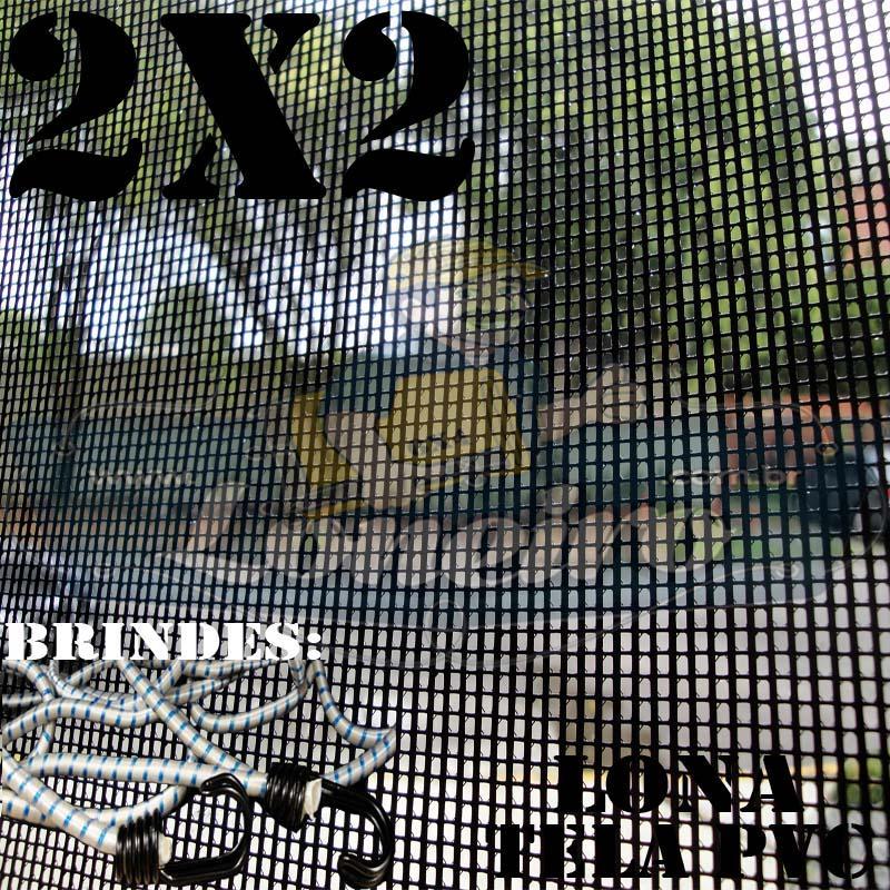 Lona 2,0 x 2,0m Tela Premium de PVC Preta Vinil Vinílica Sombrite AntiChamas com 10 metros Corda 8mm